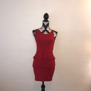 ❤️Zara Red Peplum Dress with Low Back